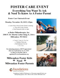 Milwaukee Foster Care Outreach Event @ Bader Philanthropies, Inc. | Milwaukee | Wisconsin | United States